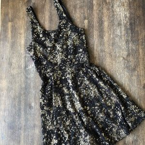 Everly black and gold skater holiday dress